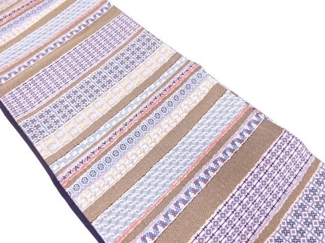 【IDN】 横段に幾何学模様織出し袋帯【リサイクル】【中古】【着】