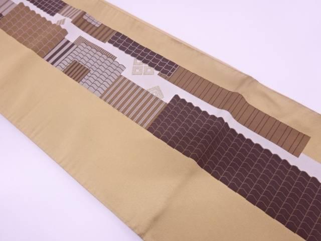 【IDN】 本場筑前博多屋根に抽象模様織出し袋帯【リサイクル】【中古】【着】