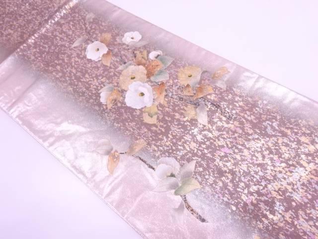 【IDN】 金彩引箔椿模様袋帯【リサイクル】【中古】【着】