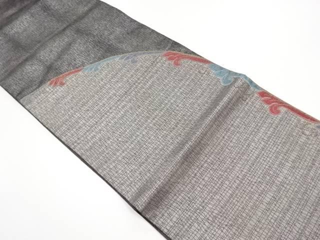 【IDN】 銀糸変わり唐草模様織り出し袋帯【リサイクル】【中古】【着】