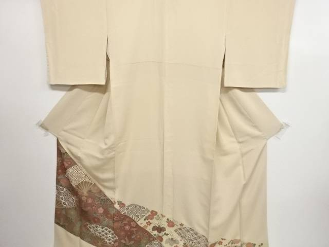 【IDN】 金彩友禅扇に古典柄・草花模様刺繍一つ紋色留袖【リサイクル】【中古】【着】