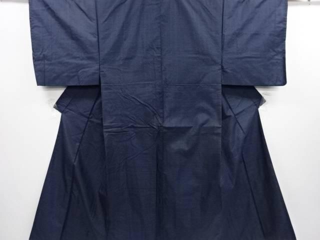 【IDN】 小格子織り出し本場泥大島紬男物着物アンサンブル 長襦袢セット【リサイクル】【中古】【着】