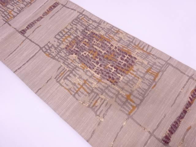 【IDN】 手織り真綿紬モール抽象模様織出し袋帯【リサイクル】【中古】【着】