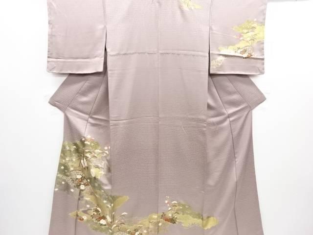 【IDN】 未使用品 仕立て上がり 金彩友禅松竹梅に鶴模様一つ紋訪問着【着】