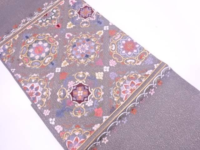 【IDN】 蘇州刺繍襷に花模様袋帯【リサイクル】【中古】【着】