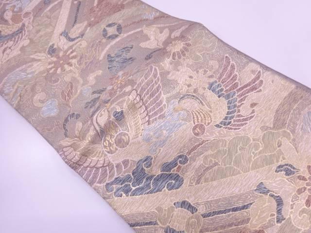 【IDN】 鴛鴦に草花・宝づくし模様織出し袋帯【リサイクル】【中古】【着】