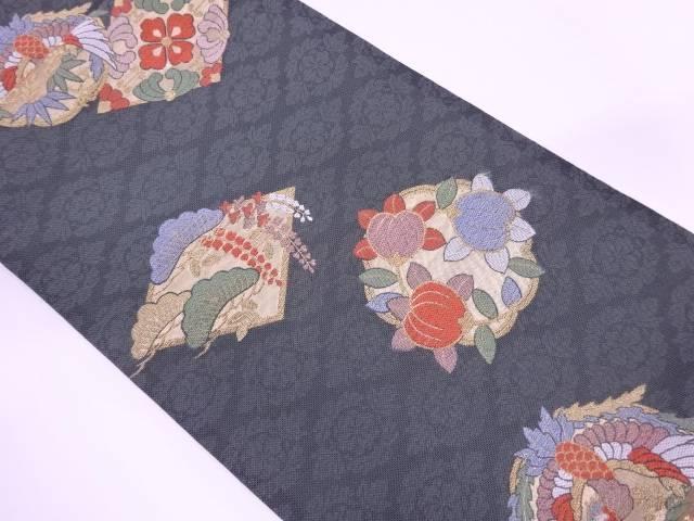 【IDN】 笠松に鳳凰・草花模様織出し袋帯【リサイクル】【中古】【着】