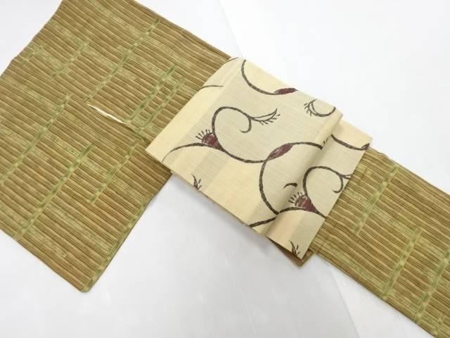【IDN】 横段に小花・変わり縞模様小紋着物 紬名古屋帯セット【リサイクル】【中古】【着】
