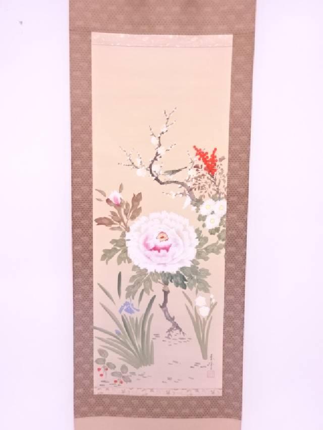 【IDN】 日本画 春峰筆 四季草花 肉筆絹本掛軸(共箱)【中古】【道】