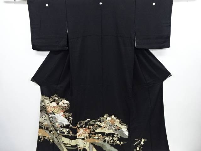 【IDN】 金彩雪輪に牡丹・桜・宝尽くし模様刺繍留袖(比翼付き)【リサイクル】【中古】【着】