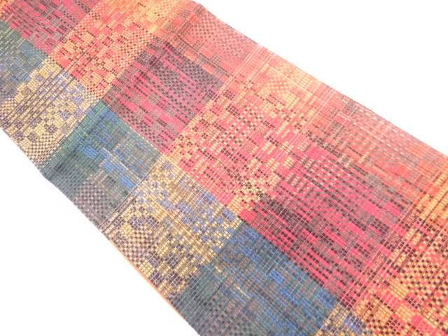 【IDN】 リボン織格子模様織出し袋帯【リサイクル】【中古】【着】