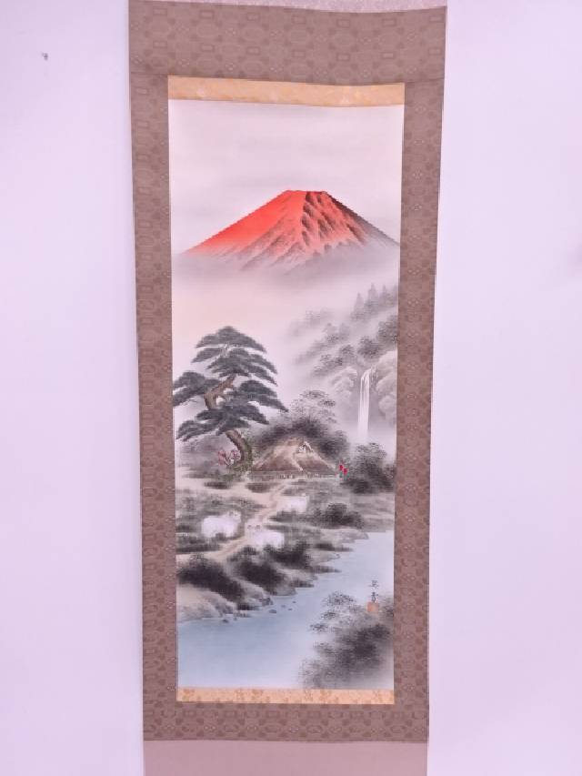 【IDN】 日本画 森契雪筆 富嶽三羊図 肉筆絹本掛軸(共箱)【中古】【道】