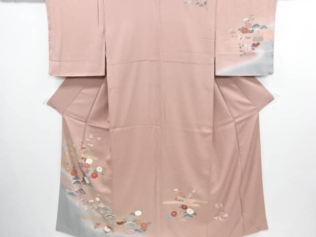 【IDN】 未使用品 仕立て上がり 金彩手描きヱ霞に松菊模様刺繍訪問着【着】