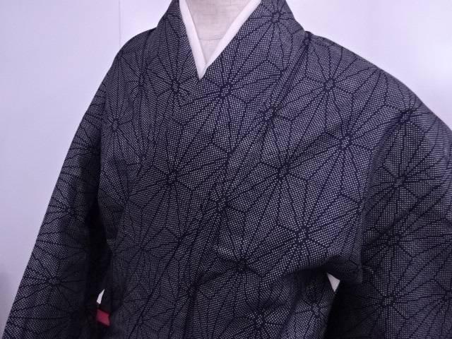 【IDN】 紬 大島紬7マルキ 麻の葉文様 Sサイズ 着物【リサイクル】【中古】【着】