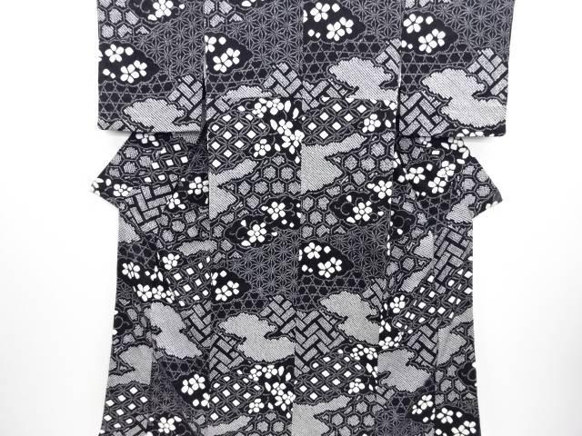【IDN】 未使用品 本絞り雲に花・古典柄小紋着物【リサイクル】【着】
