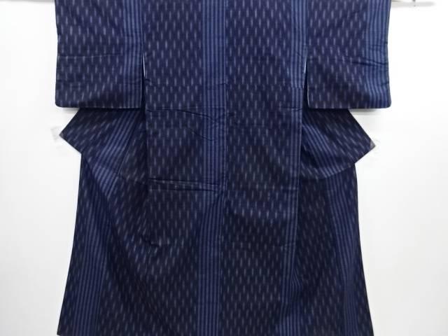 【IDN】 縞模様織り出し手織り真綿紬着物【リサイクル】【中古】【着】