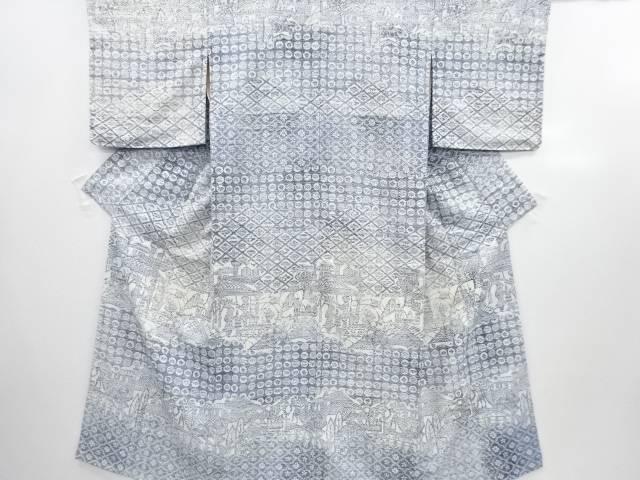 【IDN】 未使用品 型絵染松竹梅に人物模様手織り節紬付下げ着物【リサイクル】【着】