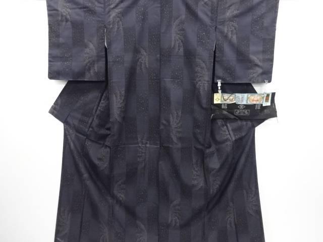 【IDN】 未使用品 窪田織物製 変わり市松に流水・水玉模様織り出し本場泥大島紬着物(7マルキ)【リサイクル】【着】