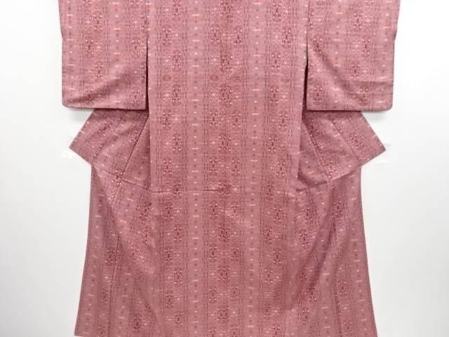 【IDN】 縞に更紗模様織り出し手織り真綿紬着物【リサイクル】【中古】【着】