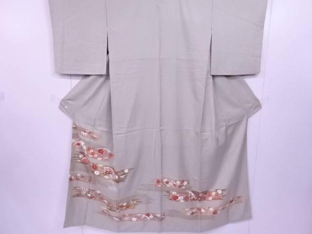 【IDN】 色留袖 金駒刺繍 地紙に草花文様 着物【リサイクル】【中古】【着】