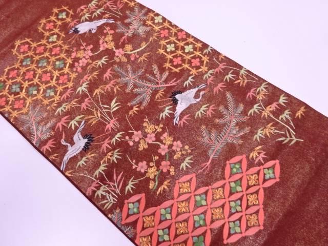 【IDN】 松竹梅に鶴模様刺繍袋帯【リサイクル】【中古】【着】