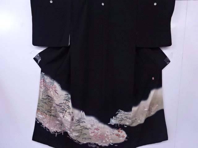 【IDN】 黒留袖 Sサイズ 縫い取り 落款入 藤棚に平等院文様 着物【リサイクル】【中古】【着】
