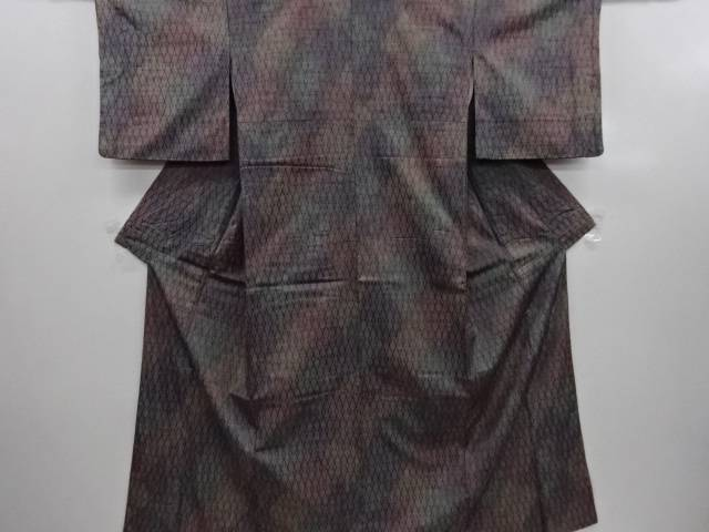 【IDN】 斜め格子模様織出暈し手織り紬着物【リサイクル】【中古】【着】