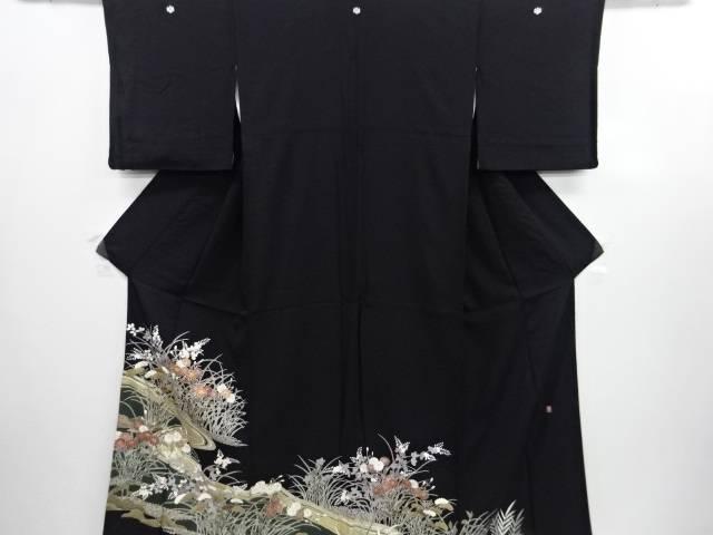 【IDN】 作家物 金彩友禅流水に秋草模様刺繍留袖(比翼付き)【リサイクル】【中古】【着】