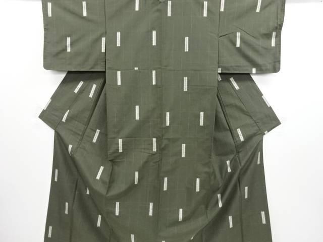 【IDN】 未使用品 仕立て上がり 乱れ格子織り出し縦節紬着物【着】