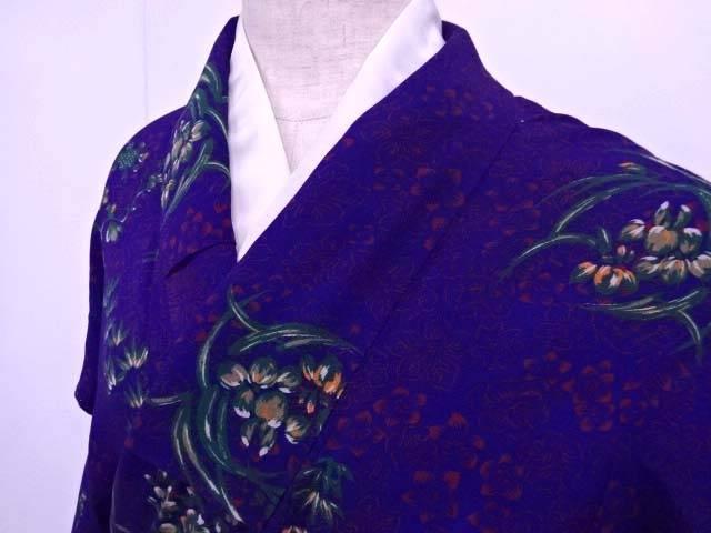【IDN】 小紋 Sサイズ 縮緬 花の丸文様散らし 着物【アンティーク】【中古】【着】