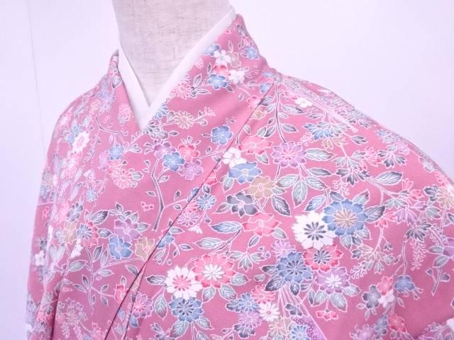 【IDN】 小紋 扇に菊と椿と草花文様 着物 未使用品【リサイクル】【着】