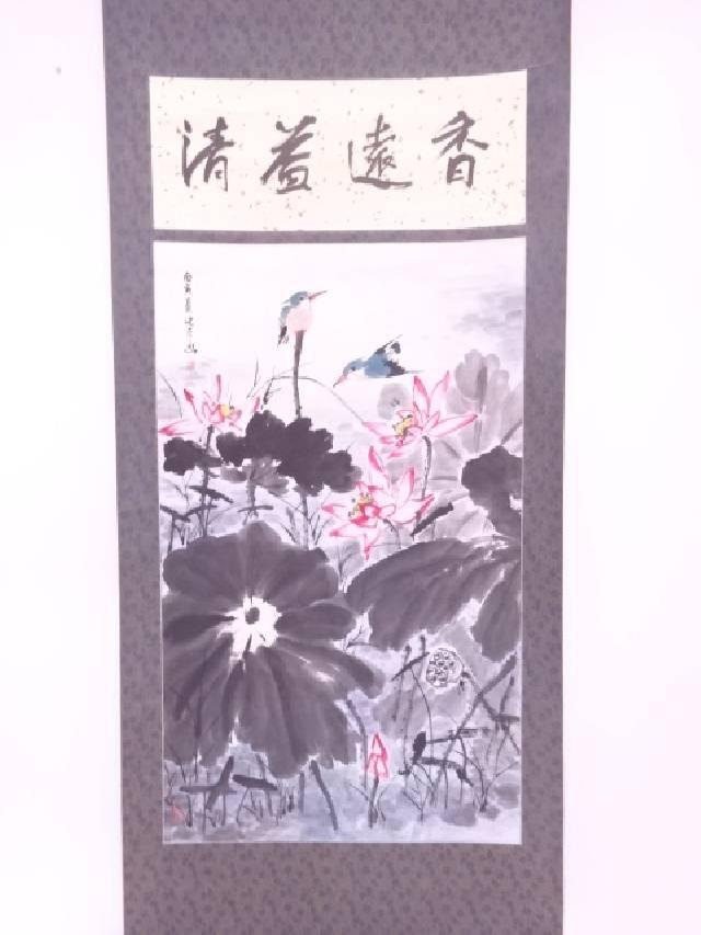 【IDN】 中国画 作家物 蓮にカワセミ 肉筆紙本掛軸【中古】【道】