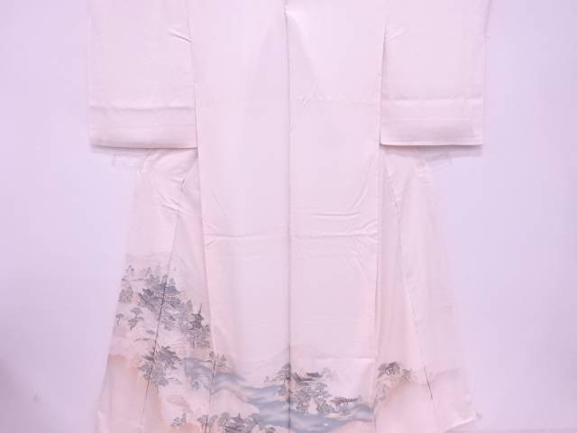 【IDN】 AB 高野山水図織出し色留袖仮絵羽(共八掛付)【リサイクル】【中古】【着】