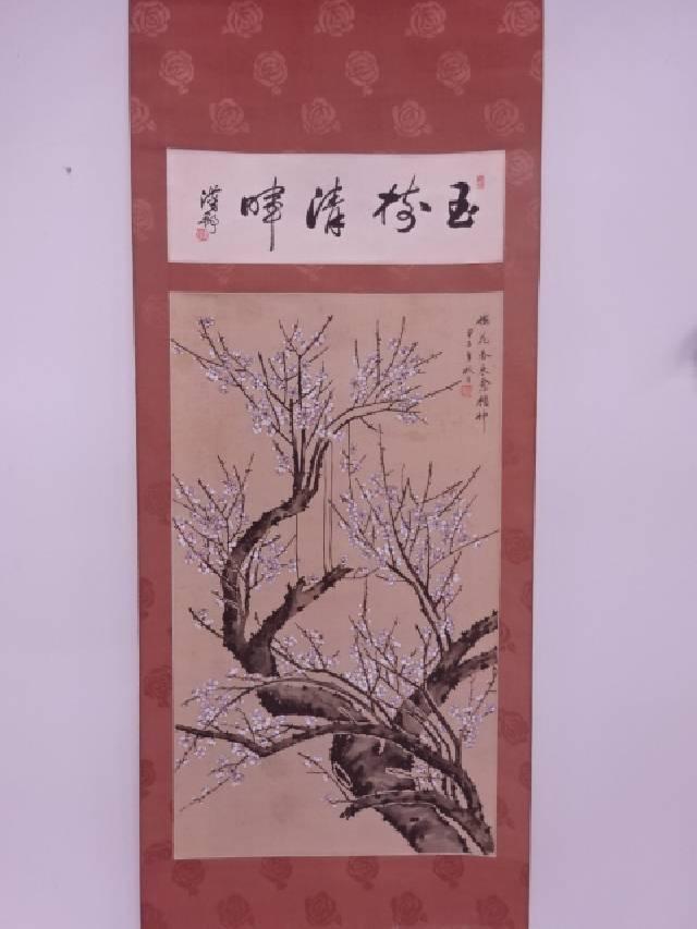 【IDN】 中国画 作家物 梅花図 肉筆絹本掛軸【中古】【道】
