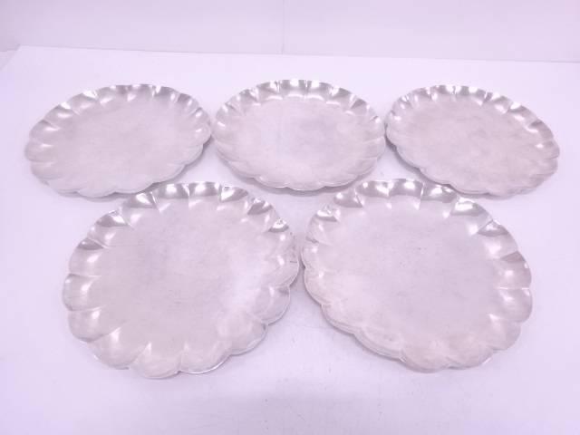 【IDN】 大壷棲造 純銀菊形銘々皿5枚セット(1276グラム)【中古】【道】