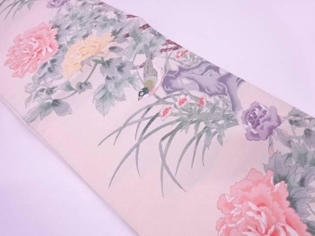 【IDN】 牡丹に鳥模様織出し袋帯【リサイクル】【中古】【着】