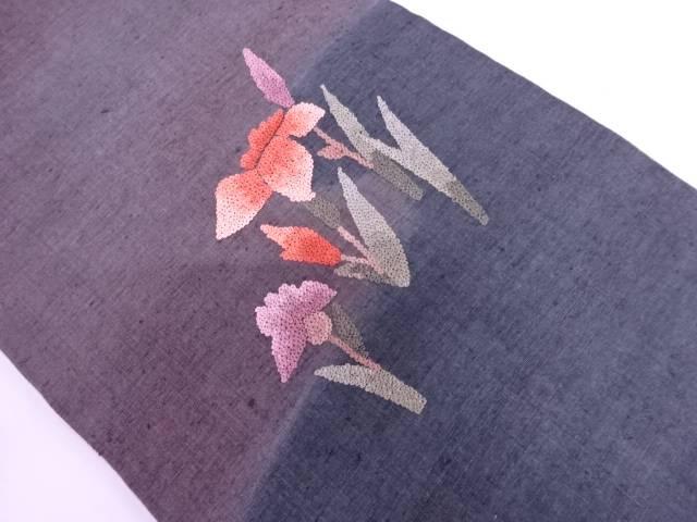 【IDN】 未使用品 手織り紬草花模様刺繍名古屋帯【リサイクル】【着】