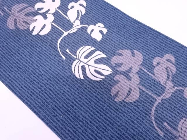 【IDN】 未使用品 手織り紬縞に葉模様名古屋帯【リサイクル】【着】