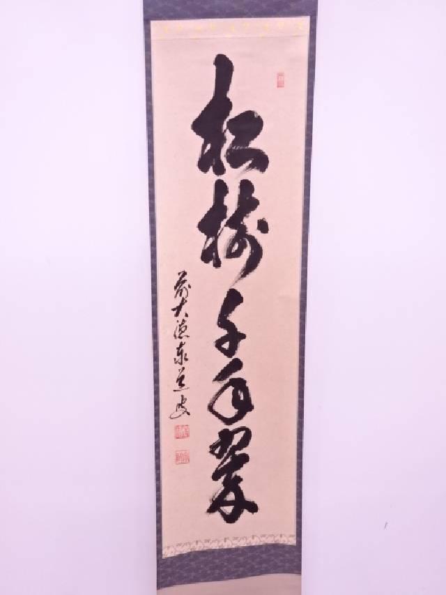 【IDN】 前大徳寺足立泰道筆 「松寿」 肉筆紙本掛軸(共箱)【中古】【道】