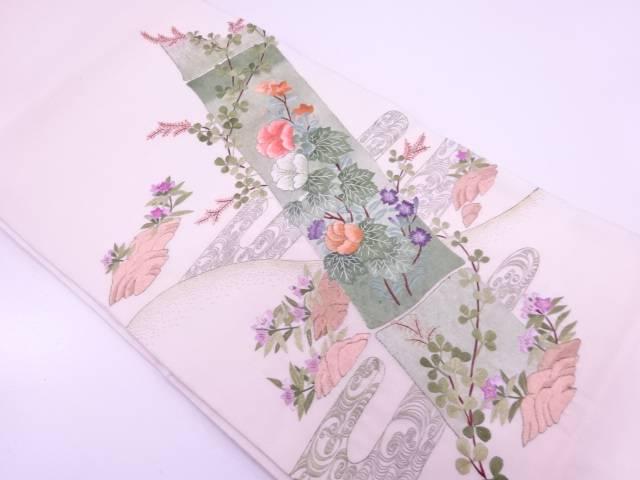 【IDN】 蘇州刺繍竹節に草花模様織出し袋帯【リサイクル】【中古】【着】