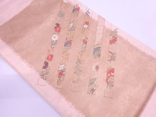 【IDN】 花唐草に松竹模様刺繍袋帯【リサイクル】【中古】【着】