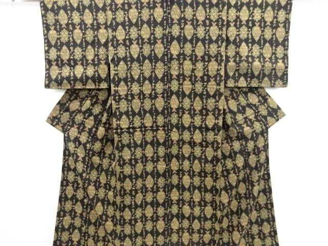 【IDN】 木立に華紋更紗模様上代紬着物【リサイクル】【中古】【着】
