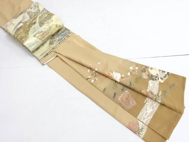 【IDN】 金彩破れ色紙に笹梅菊鶴模様刺繍一つ紋色留袖・袋帯セット(比翼付き)【リサイクル】【中古】【着】