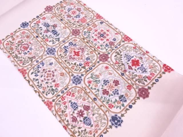 【IDN】 相良刺繍草花模様袋帯【リサイクル】【中古】【着】
