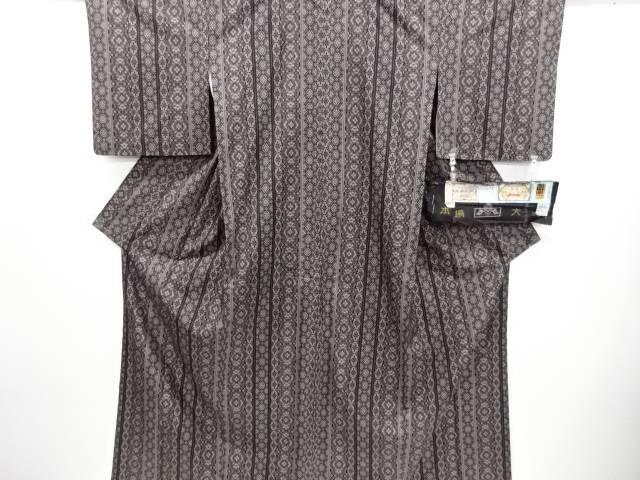 【IDN】 窪田織物製 縞に華紋更紗模様織り出し本場泥大島紬着物(12マルキ)【リサイクル】【中古】【着】