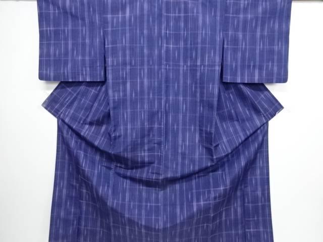 【IDN】 格子に矢羽根絣織り出し手織り紬単衣着物【リサイクル】【中古】【着】
