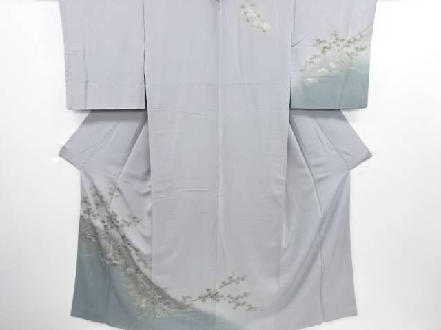 【IDN】 金彩友禅川下り模様一つ紋訪問着(重ね衿付き)【リサイクル】【中古】【着】
