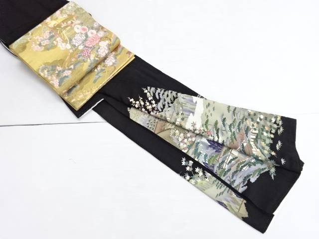 【IDN】 作家物 手描き友禅屋敷に松竹梅椿模様留袖・袋帯セット(比翼付き)【リサイクル】【中古】【着】