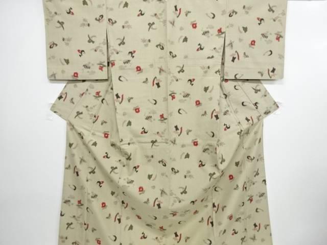 【IDN】 蝶に抽象模様織出手織り真綿紬単衣着物【リサイクル】【中古】【着】