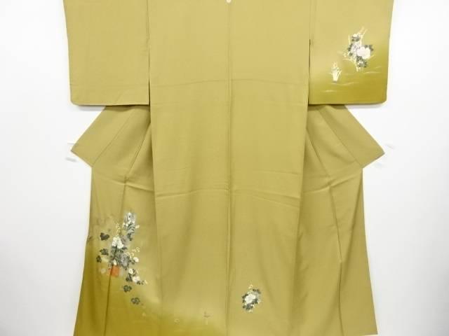 【IDN】 作家物 箔置草花に蔦の葉模様一つ紋訪問着【リサイクル】【中古】【着】